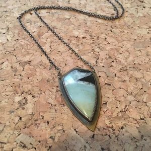 Handmade turquoise and brass pendant necklace